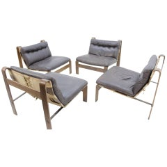 Set of Four Carl Straub Leather Chairs