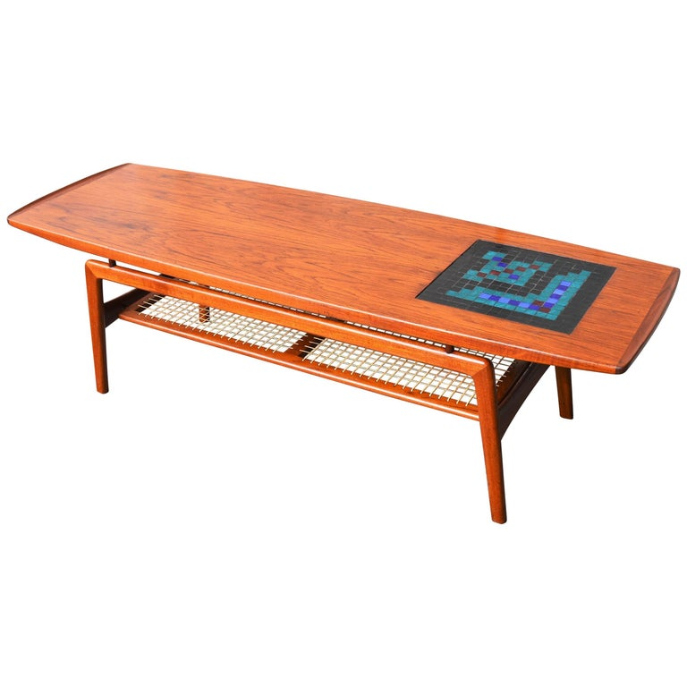 Arne Hovmand Olsen Floating Teak Coffee Table for Mogens Kold, Glass Mosaic