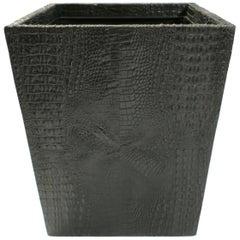 Black Faux Alligator or Crocodile Wastebasket or Trash Can