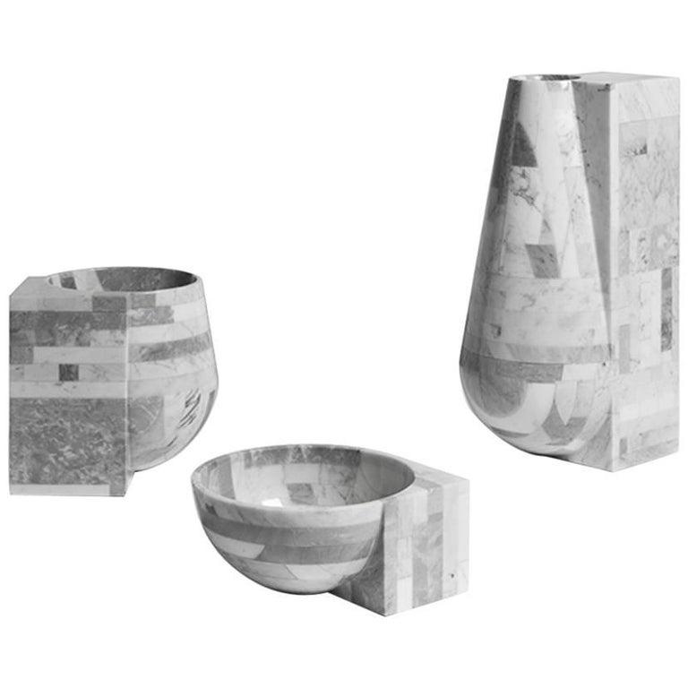 Contrasti Carved Marble Vase Set
