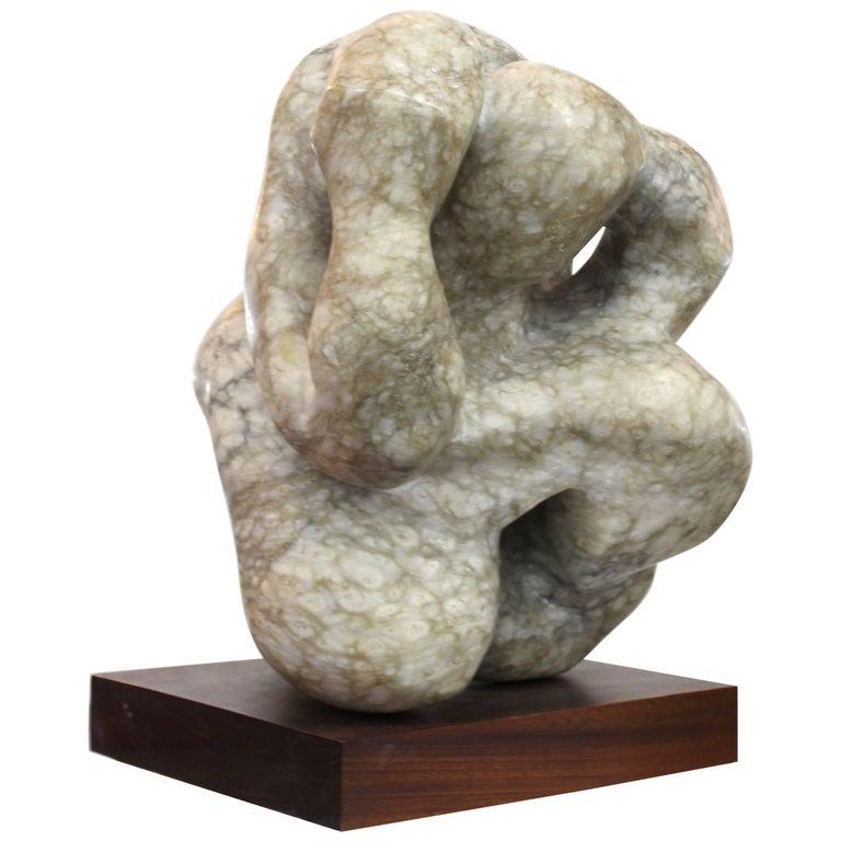 Mid-Century Modern Anthropomorphic Marble Sculpture on Wooden Base