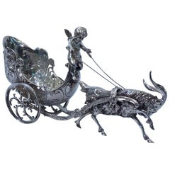 Antique German Silver Rococo Fantasy Goat-Harnessed Cupid Carriage