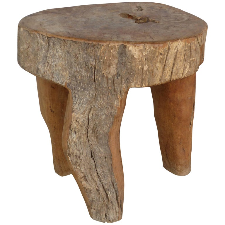 Three-Legged Organic Modern Table or Stool from the Marché aux Puces de St-Ouen