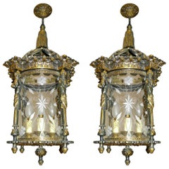 Pair of French Empire Fire Gilded Bronze Cut Glass Four-Light Lantern/Chandelier