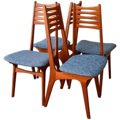 Four Teak Tall Bow-Tie Ladder Back Dining Chairs Attributed to Kai Kristiansen
