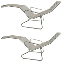 Two Metal Chaise Longues by Erlau AG Design Attributed to Karl Fichtel