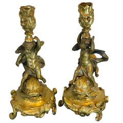 19th Century French Bronze Putto and Dolphin Motif Candlesticks