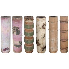 French Wallpaper Rollers for Table Lamp Bases