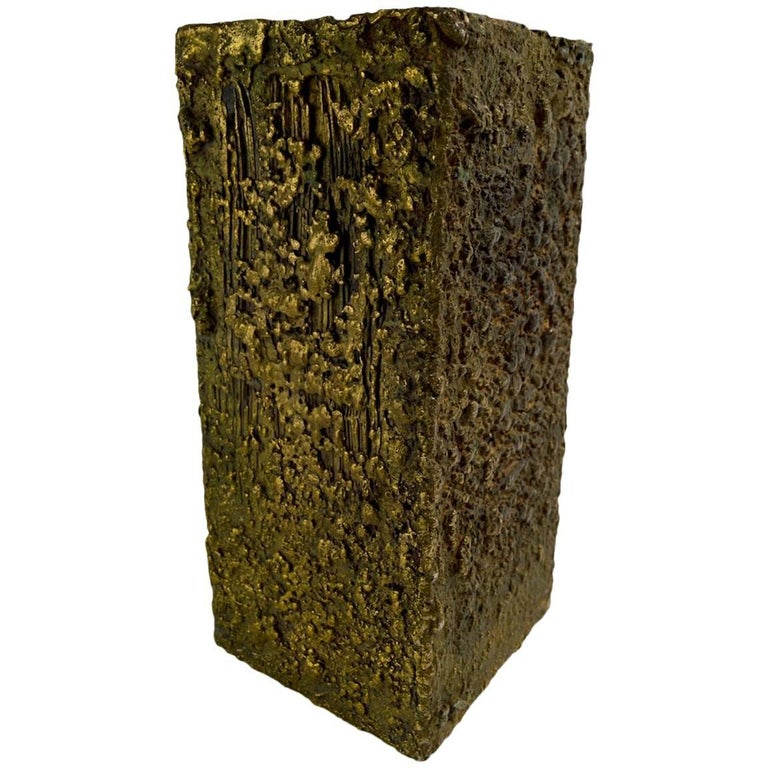 Brutalist Bronze Sculpture Vase Pedestal Attributed to Paul Evans For Sale