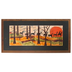 Judith Daner Mid-Century Enamel on Copper Artwork Wall Panel Horses on the Trail