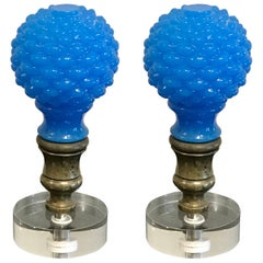 "Two French Blue Opaline Newel Post or ""Boule Escalier"""