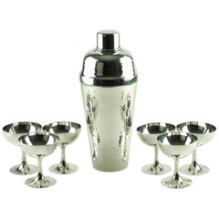 Miyamoto Shoko Hand-Hammered Sterling Silver Cobbler Shaker Cased Cocktail Set