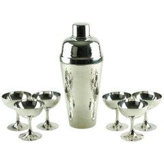 Miyamoto Shoko Hand-Hammered Sterling Silver Cobbler Shaker Cased Cocktail Set