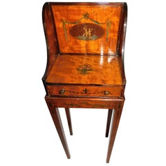 18th Century George III Inlaid Satin Wood Sewing Stand Table with Drawer