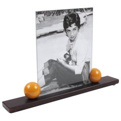 Art Deco 1930s Wood and Bakelite Ball Picture Photo Frame
