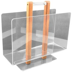 Grosfeld House 1970s Lucite and Oak Wood Magazine Rack Stand
