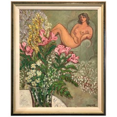"Modern Painting ""Nude with Bouquet"" in the style of Matisse"