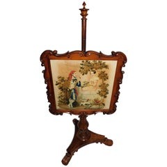 Victorian Original Needlepoint Carved Walnut Fire Screen