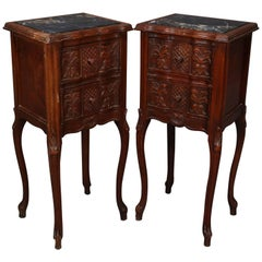 Pair of French Louis XVI Style Carved Mahogany Petite Marble-Top End Stands