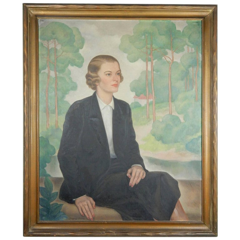 1920s Aristocratic Women Lifesize Portrait Painting by Gregory Orloff