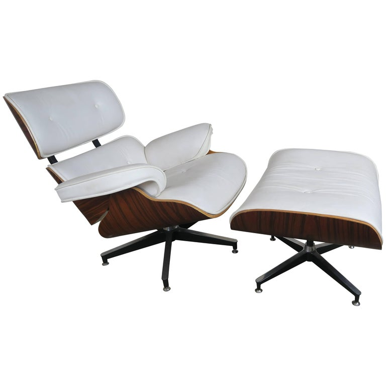 Eames Style White Leather Chair And Ottoman For
