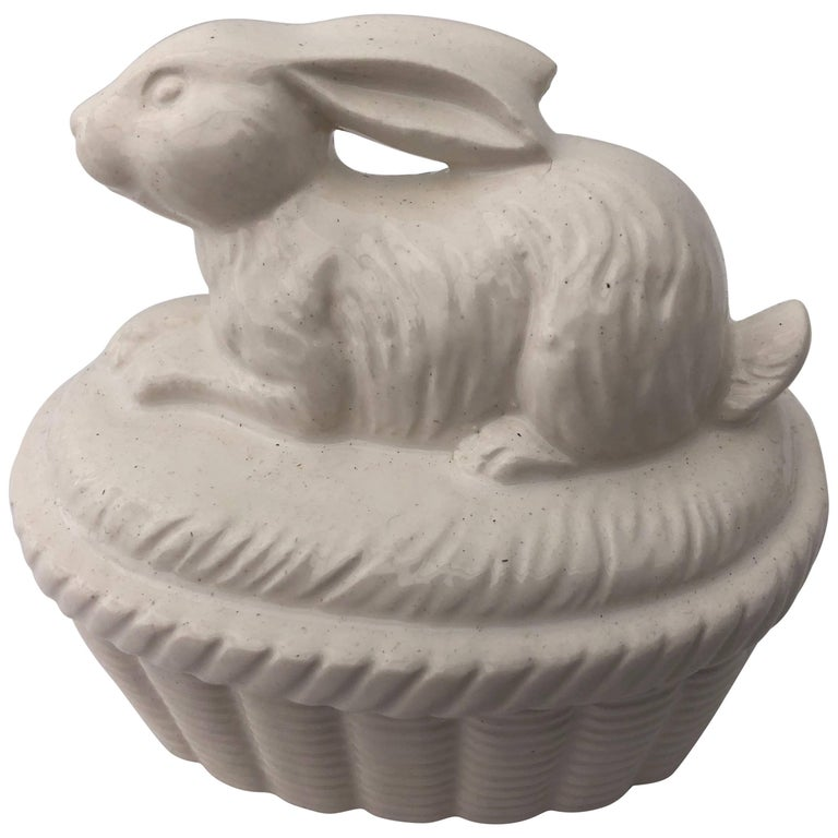 Two-Piece White Ceramic Rabbit Covered Box, Japan 1980s in it's Original Box