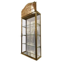 Brass and Glass Wall Display Cabinet