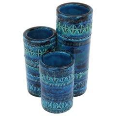 Aldo Londi Bitossi Rimini Blue Glazed Ceramic Triple Vase, Italy, 1960s