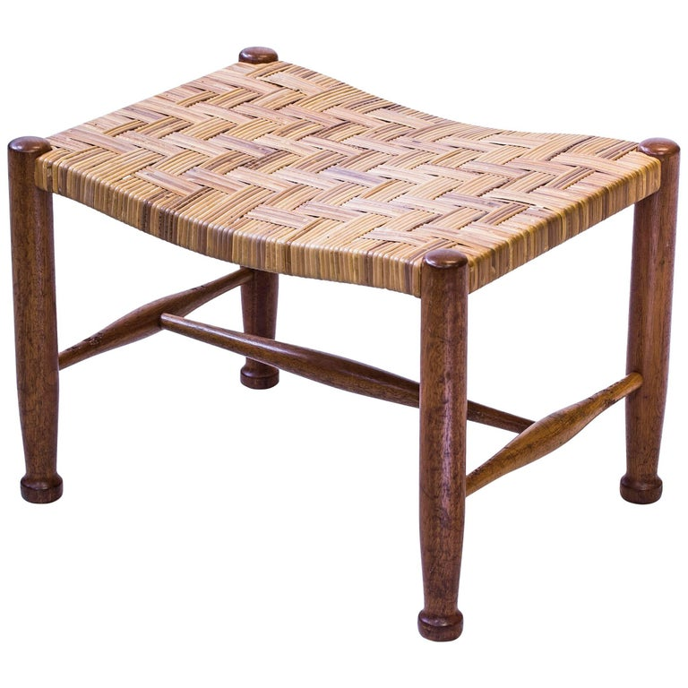 Mahogany Stool with Rattan Seat by Josef Frank, Sweden, 1950s