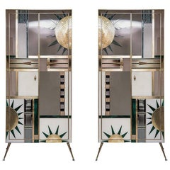 Pair of Multicolored Opalines Glass Italian Cabinets with Brass Fittings, 1970s