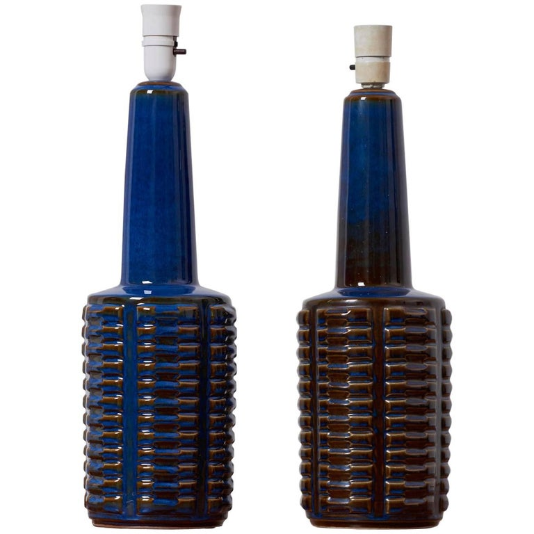 Pair of Large Blue Ceramic Table Lamps by Soholm, Denmark, 1960s