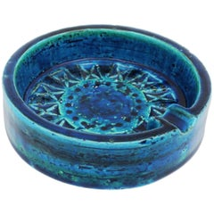 Small Blue Glazed Ceramic Circular Ashtray by Aldo Londi and Bitossi