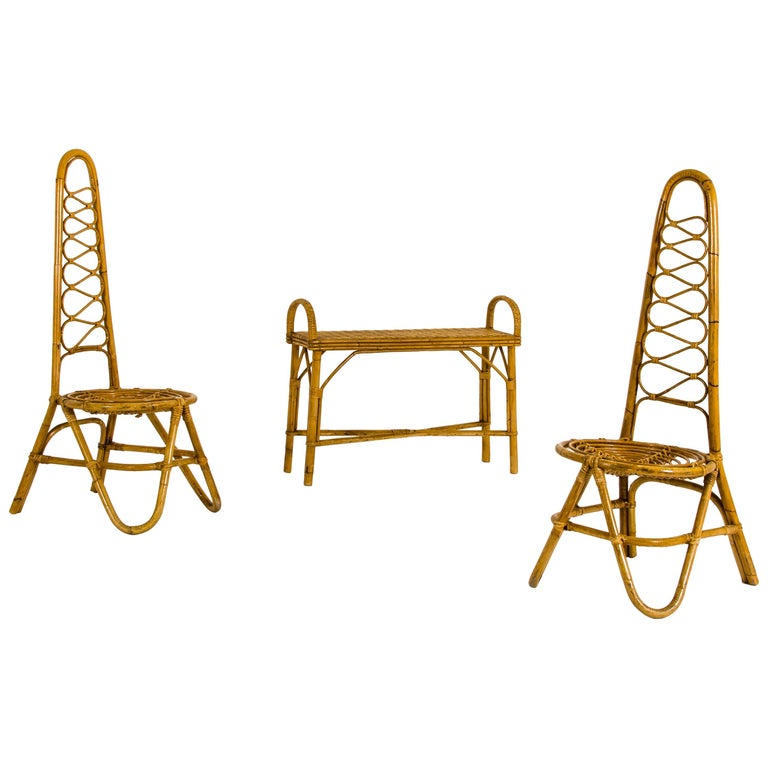 Pair of Chairs and Coffee Table, Bamboo, circa 1950, Italy