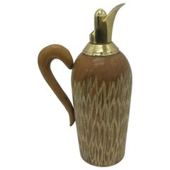 Aldo Tura Mid-Century Modern Italian Thermal Wood Brass Carafe for Macabo 1950
