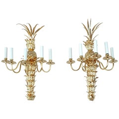 Pair of Pineapple Wall Lights, Stamped Maison Charles, circa 1970