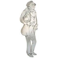 Edwardian Novelty Silver Figural Bookmark Charles Dickens 'Mr Turveydrop'