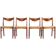 Teak and Paper Cord Chairs by Ejner Larsen & Aksel Bender Madsen, Set of Four