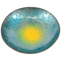 Italian Design Midcentury Turquoise and Yellow Enamel Bowl after Paolo De Poli