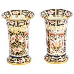 Antique Pair of Royal Crown Derby Imari Trumpet Shaped Spill Vases, 1919