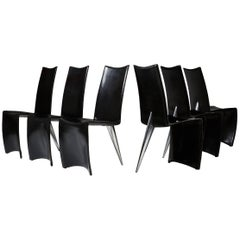 Set of Six Chairs 'J Serie Lang' Designed by Philippe Starck for Aleph, Italy