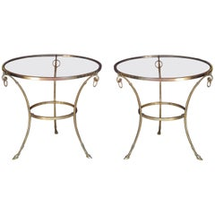 Pair of Big Brass Gueridon Occasional Tables Attributed to Maison Jansen