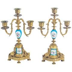 Antique Pair of Sèvres Bleu Celeste Porcelain and Ormolu Candelabra 19th Century
