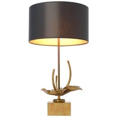 Brass Flower Table Lamp in the Manner of Maison Charles