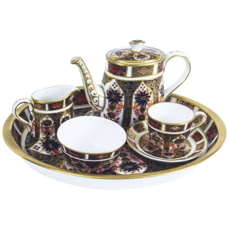 Antique English Royal Crown Derby Tea Set on Tray, Imari Pattern, 19th Century
