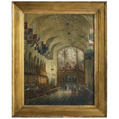 19th Century Aquatint of St George's Chapel Windsor