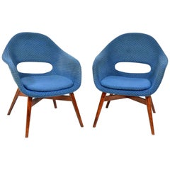 Pair of Blue Shell Chairs by Miroslav Navrátil, 1960s