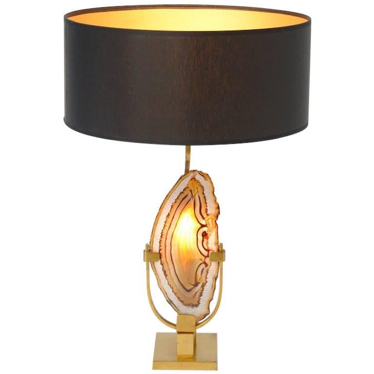 Brass and Agate Table Lamp by Willy Daro