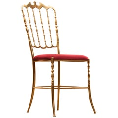 1950s, Brass Chair by Chiavari Italy