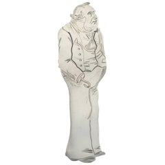 Victorian Novelty Silver Figural Bookmark Charles Dickens 'Captain Cuttle'
