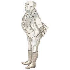 Victorian Novelty Silver Figural Bookmark Charles Dickens 'Samuel Pickwick'